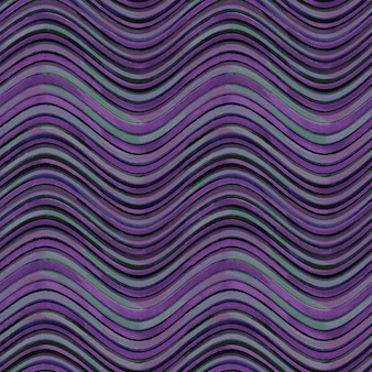 シームレスなパターン。黒灰色と紫のグランジ波状縞模様の抽象的な幾何学的な背景