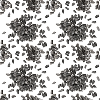 Seamless pattern of black sunflower seeds