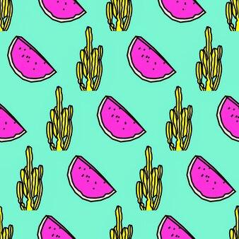 Бесшовные модели. кактус и арбуз фон. используйте для футболки, поздравительных открыток, оберточной бумаги, плакатов, ткани для печати. искусство эскиза битника моды
