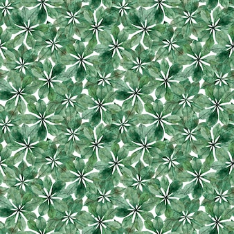 Seamless pattern of chestnut circular leaves