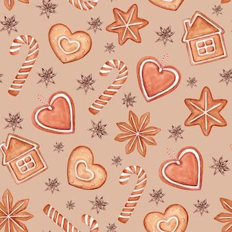 シームレスパターンクリスマスイラスト手描き水彩ジンジャーブレッドクッキー家の形をしたサトウキビスノーフレークハートアニススター