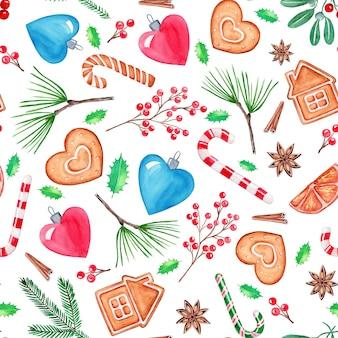 원활한 패턴 크리스마스 일러스트, 손으로 그린 수채화 그림