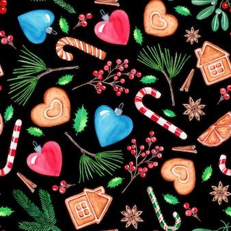 シームレスパターンクリスマスイラスト、手描きの水彩画