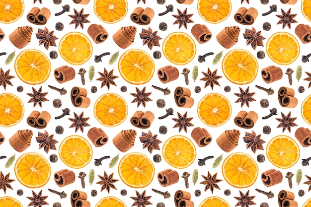 Seamless pattern of christmas spices for decoration.