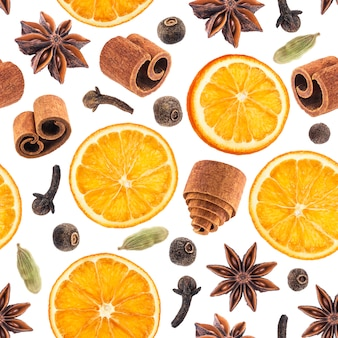 Seamless pattern of christmas spices