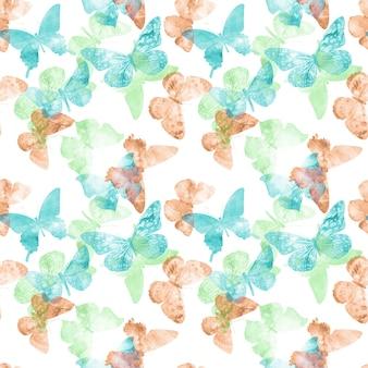 Бесшовные модели. цветные тропические бабочки, изолированные на белом фоне. фото высокого качества