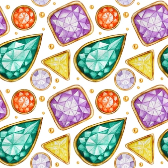 Seamless pattern crystal in a gold frame and jewelry beads. hand drawn watercolor gemstone diamond. bright colors fabric texture. white background for scrapbooking