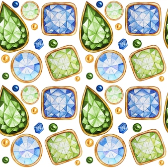 Seamless pattern crystal in a gold frame and jewelry beads. hand drawn watercolor green, yellow gemstone diamond. bright colors fabric texture. white background for scrapbooking