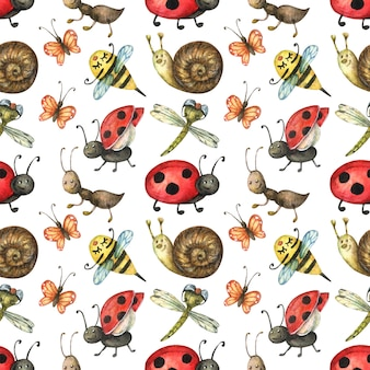 Seamless pattern of cute and bright insects (ant, snail, butterfly, ladybug, bee)
