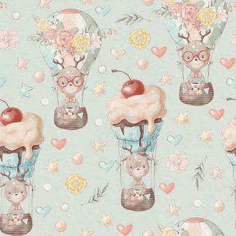 シームレスなパターンのかわいい漫画の動物が熱気球で飛ぶ
