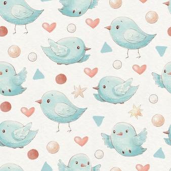 Бесшовный фон милый мультфильм птицы сердца и звезды.