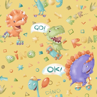 Seamless pattern. cute cartoon dinosaurs. print for the children's room.