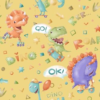 원활한 패턴입니다. 귀여운 만화 공룡. 어린이 방을 위해 인쇄하십시오.