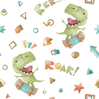Бесшовные модели. симпатичные мультяшные динозавры. принт для детской комнаты.