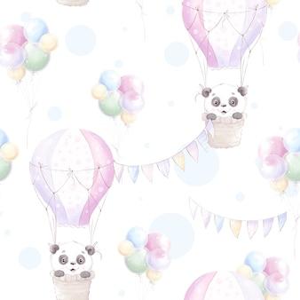 シームレスなパターン。花と風船でかわいい漫画のパンダ。