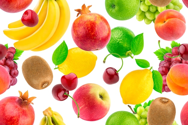 Seamless pattern of different fruits and berries. falling tropical fruits isolated on white background