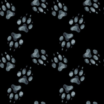 Seamless pattern of dog footprint. watercolor illustration.