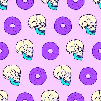 Бесшовные модели. фон любитель пончиков. используйте для футболки, поздравительных открыток, оберточной бумаги, плакатов, ткани для печати. искусство эскиза битника моды