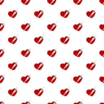 Бесшовные модели электронный термометр и красное сердце, изолированные на белом фоне. здравоохранение.