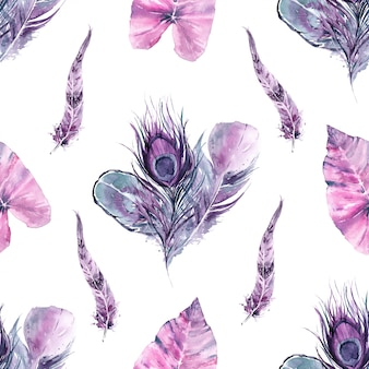 Seamless pattern exotic bird feathers and tropical leaves