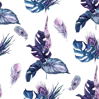 Seamless pattern exotic bird feathers