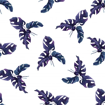 Seamless pattern exotic palm leaves.