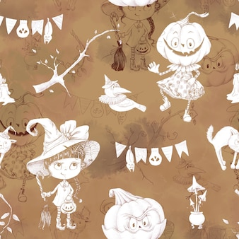 休日のハロウィーンのためのシームレスなパターン。水彩イラスト。