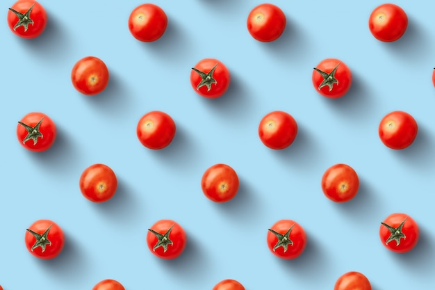 Seamless pattern of fresh cherry tomatoes