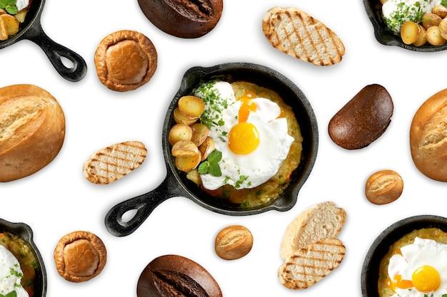 Бесшовный фон жареные яйца на сковороде, разные виды хлеба. вкусный и сытный завтрак. белый изолированный фон. концепция печати и дизайна.