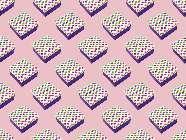 Seamless pattern gift box over pink background.