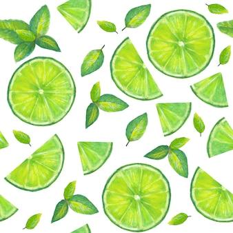モヒート、角氷、ミントの葉、ライムスライス、ライム全体のシームレスパターンガラス。手描きのアルコールカクテル。漫画のスタイルでベクトルイラスト。夏の緑の飲み物。冷たいモヒートカクテルプリント