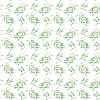 Бесшовные модели зелень акварель оливковое дерево филиал листья