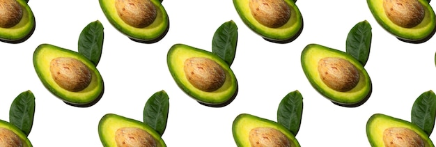 Seamless pattern of half avocado with seed