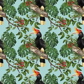 植物と熱帯の鳥と植物や果物の葉のシームレスなパターンの手描きの水彩画。