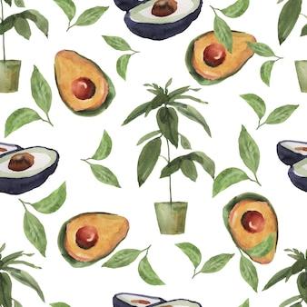 Бесшовный фон рисованная акварель иллюстрации. ломтики авокадо.