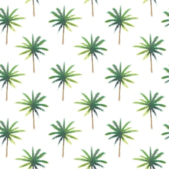 Seamless pattern of hand paint watercolor palm tree