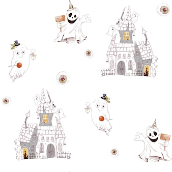 Seamless pattern for the holiday halloween. watercolor illustration.