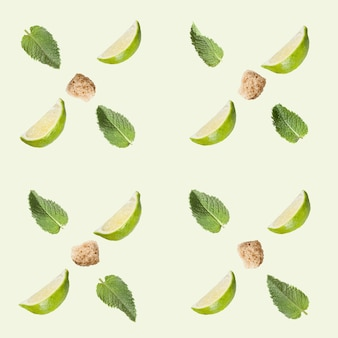 Seamless pattern. lime, sugar and mint on a white .