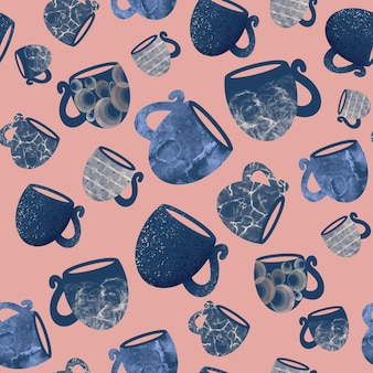 Seamless pattern of mugs and cups on a pink background handdrawn illustration