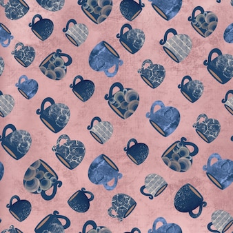 Seamless pattern of mugs and cups on a pink background