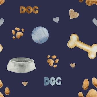 犬のボウル、骨、ボールのシームレスパターン