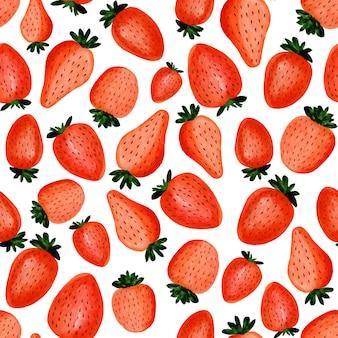 抽象的な水彩手のシームレスパターンは、白の美しいイチゴを描いた