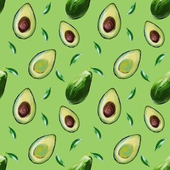 Бесшовный фон из авокадо на светло-зеленом фоне. авокадо, нарисованная от руки иллюстрация гуашью. еда рисованной иллюстрации.