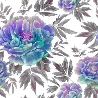 葉と芽の美しい青い花の花のシームレスパターン
