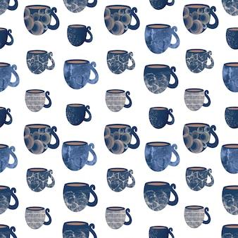 블루 머그잔과 컵 주방 액세서리 수건의 완벽 한 패턴