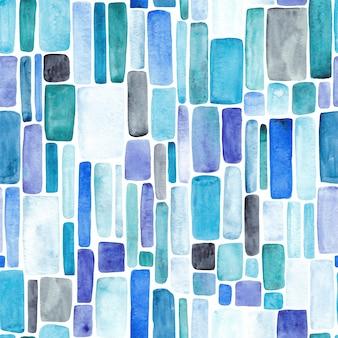 Бесшовный фон из синих, бирюзовых и фиолетовых пятен. акварельная иллюстрация. синий фон мозаики.