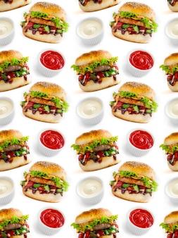 흰색 바탕에 햄버거와 소스의 원활한 패턴