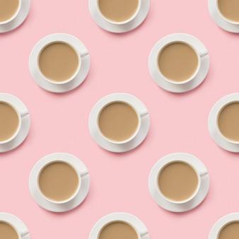 우유와 라떼 커피와 컵의 원활한 패턴
