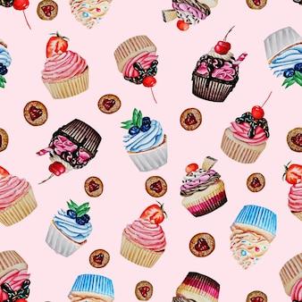 컵 케이크, 쿠키 및 케이크의 완벽 한 패턴입니다.