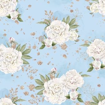 Бесшовный фон из нежных цветочных роз. акварельная иллюстрация.